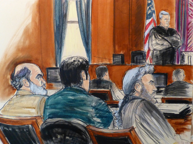 In this  March 3, 2014, courtroom sketch from files, defense attorney Stanley Cohen, right, sits next to a translator during the jury selection for Cohen's client Sulaiman Abu Ghaith, left, Osama  ...