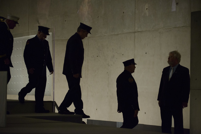 First responders from the FDNY and Port Authority exit the stage during the Dedication Ceremony of the National September 11 Memorial Museum in the museum's Foundation Hall on Thursday, May 15, 20 ...