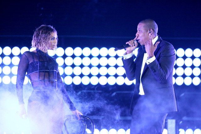 "FILE - This Jan. 26, 2014 file photo shows Beyonce, left, and Jay Z performing ""Drunk in Love"" at the 56th annual Grammy Awards in Los Angeles. Beyonc頡nd Jay Z lead in nominations ..."