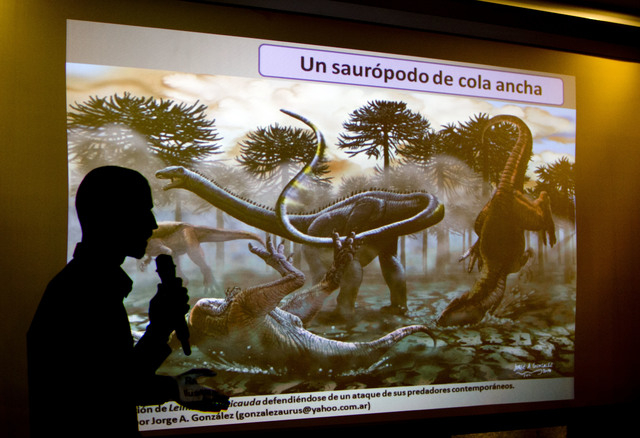 Paleontologist Pablo Gallina speaks to the press about a newly discovered dinosaur discovered in Argentina in Buenos Aires, Argentina, Thursday, May 15, 2014. Gallina and his team of Argentine pal ...