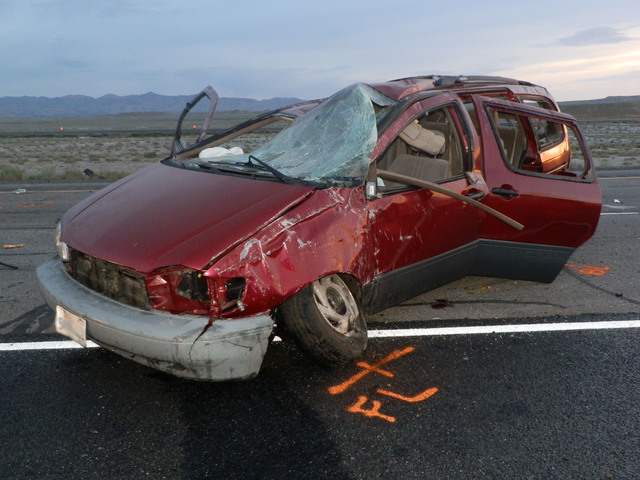Four people died and four were injured in a van rollover crash Friday, May 16, 2014, on Interstate 70, about 30 miles west of the Colorado border. Police are investigating whether the van was invo ...