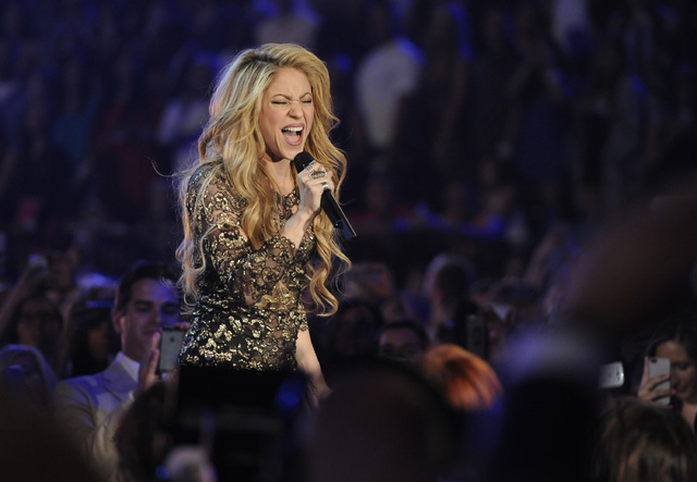 Shakira performs at the Billboard Music Awards at the MGM Grand Garden Arena on Sunday, May 18, 2014, in Las Vegas. (Photo by Chris Pizzello/Invision/AP)