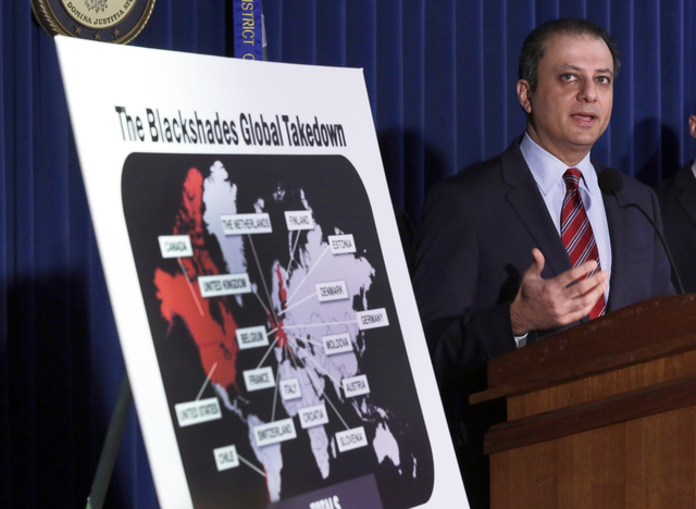 Preet Bharara, U.S. Attorney for the Southern District of New York, discusses arrests in the malware BlackShades Remote Access Too, during a news conferencel in New York, Monday, May 19, 2014. Mor ...