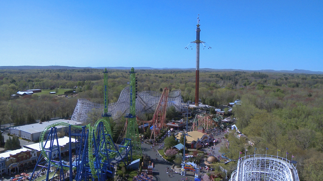 This undated image released by Six Flags New England shows The New England SkyScreamer, the tallest swing ride at Six Flags New England in Agawam, Mass.  (AP Photo/Six Flags New England)