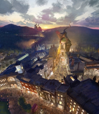 This artist rendering provided by NBC Universal shows the new Harry Potter-themed area of the Universal theme park in Orlando, Fla., which was inspired partly by the fictional Diagon Alley from th ...