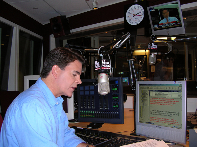 This May 31, 2005 file photo supplied by Fox News shows Fox News shows anchor Gregg Jarrett rehearsing, in New York, for the debut of Fox News Radio's five-minute newscast. Jarrett was jailed Wedn ...