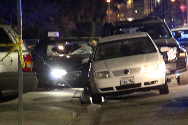 In this image provided by KEYT-TV, a car window is shot out after a mass shooting near the campus of the University of Santa Barbara in Isla Vista, Calif., Friday, May 23, 2014.  A drive-by shoote ...