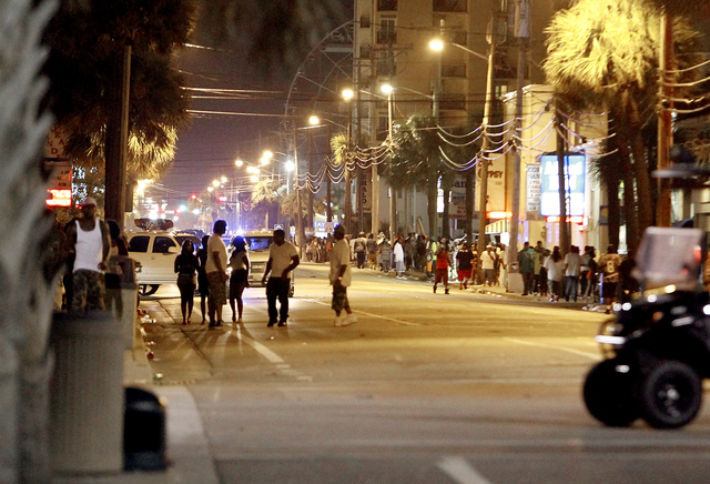Ocean Boulevard is closed to vehicle traffic for about eight blocks as Myrtle Beach Police investigate multiple shootings late Saturday, May 24, 2014. Police report three people were killed and on ...