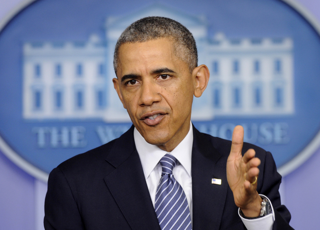 President Barack Obama makes a statement in the Brady Press Briefing Room of the White House in Washington, Friday, May 30, 2014, following his meeting with Veterans Affairs Secretary Shinseki. Th ...