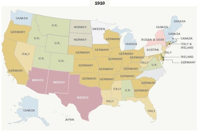 This map shows which country had the largest share of immigrants in a state (based on current boundaries) in 1910. (Pew Research Center)