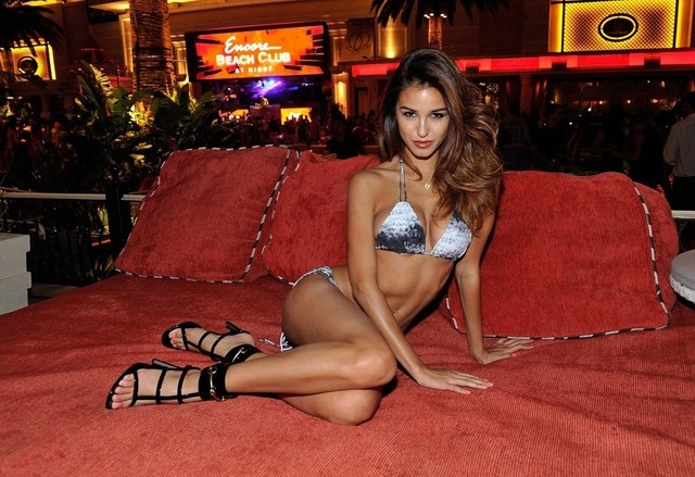 Model Ashley Sky drew attention to Encore Beach Club, while Martin Solveig DJ'd. (Courtesy photos by David Becker/Getty-WireImage)