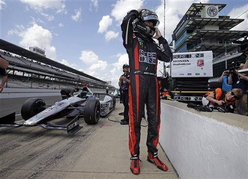 Kurt Busch of Las Vegas prepares to drive during practice for the Indianapolis 500 at Indianapolis Motor Speedway. Busch posted the ninth-fastest speed in practice Monday, nearly topping 223 mph.  ...