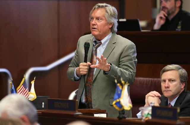 "Nevada Sen. Richard ""Tick"" Segerblom, D-Las Vegas, speaks on the Senate floor at the Legislative Building. (File, Las Vegas Review-Journal)"