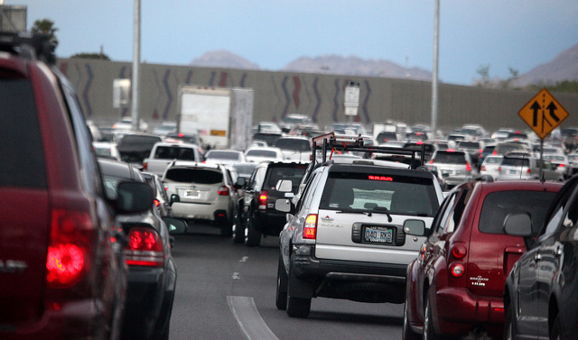 Traffic on U.S. 95 southbound is shown in this file photo. (Justin Yurkanin/Las Vegas Review-Journal)