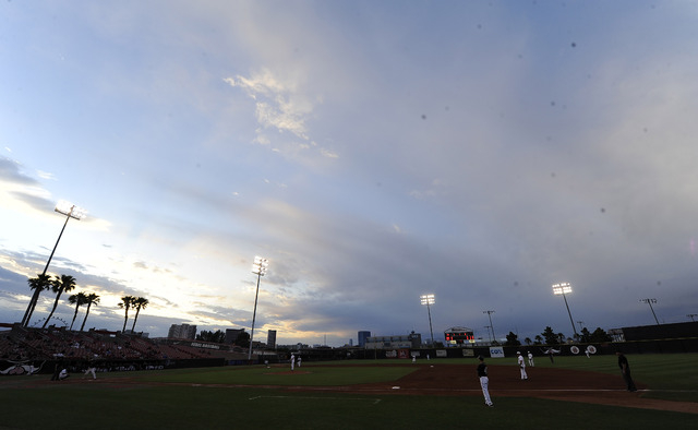 A general view of Earl E. Wilson Stadium during the  2014 Mountain West Conference Baseball Championship game between the San Diego State Aztecs and the UNLV Rebels in Las Vegas Saturday, May 24,  ...