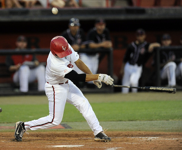 UNLV infielder Patrick Armstrong loses hit bat after hitting a foul ball scoring in third inning of the 2014 Mountain West Conference Baseball Championship game between San Diego State Aztecs at E ...