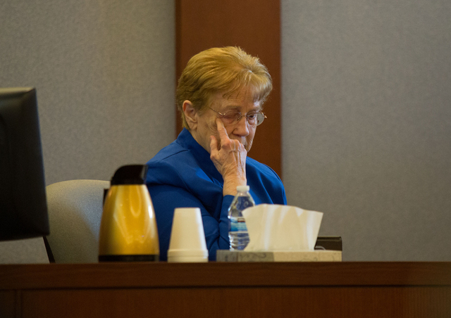 Delores Cipriano, one of two plaintiffs in a lawsuit against the manufacturers of the diabetes drug Actos, wipes away a tear while testifying at the Regional Justice Center on Tuesday, April 15, 2 ...