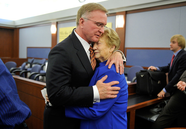 Henderson resident Delores Cipriano, right, is consoled by attorney Robert Eglet after she lost her civil suit against against Japanese drug maker Takeda Pharmaceuticals at the Regional Justice Ce ...