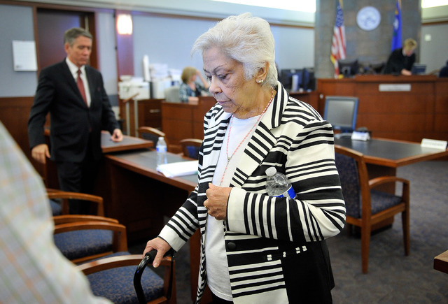 Las Vegas resident Bertha Triana walks out of the courtroom after she lost her civil suit against against Japanese drug maker Takeda Pharmaceuticals at the Regional Justice Center on Thursday, May ...