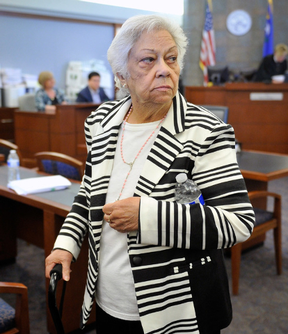 Las Vegas resident Bertha Triana looks back as she walks out of the courtroom after she lost her civil suit against against Japanese drug maker Takeda Pharmaceuticals at the Regional Justice Cente ...