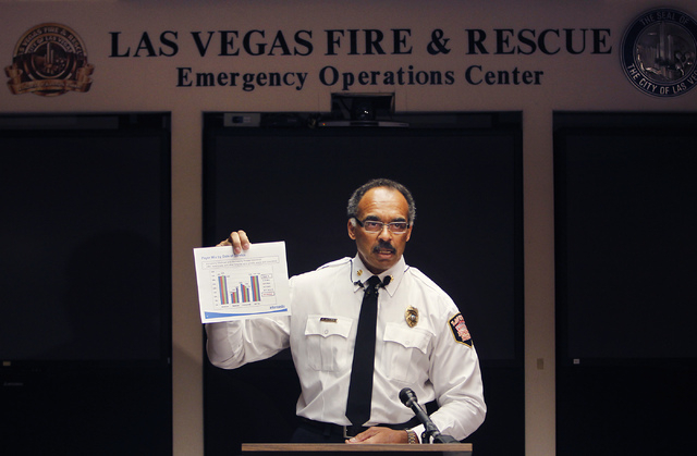 Las Vegas Fire & Rescue Chief William L. McDonald speaks to the media about a recent report that claims his department is transporting a disproportional amount of patients from wealthier neighborh ...