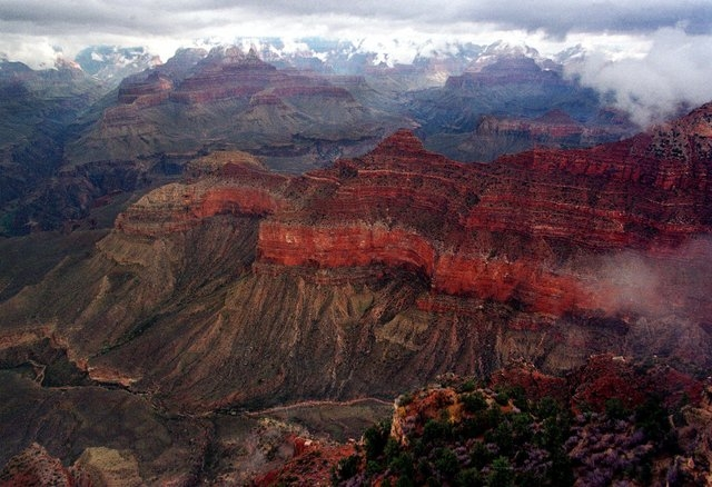The Kaibab Trail, running right to left in the center, at the Grand Canyon National Park. (AP File Photo/Matt York)