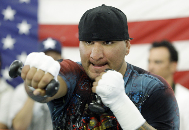 Heavyweight boxer Chris Arreola is shown during a 2009 workout in advance of his WBC championship fight against Vitali Klitschko. Arreola gets another chance to win the WBC belt tonight in Los Ang ...