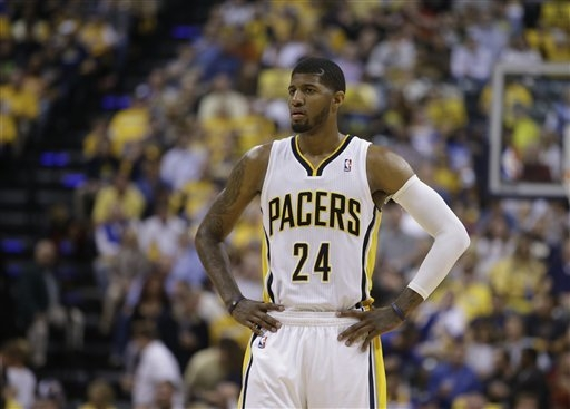 Indiana Pacers' Paul George is shown during Game 2 of an opening-round NBA playoff series against the Atlanta Hawks. (AP Photo/Darron Cummings)