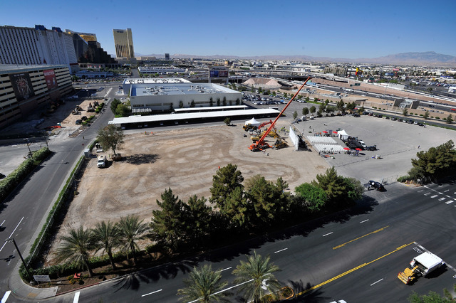 A general view is seen before the before a ceremonial ground breaking event for the of the MGM Resorts International and AEG joint venture indoor arena located behind the New York-New York hotel-c ...