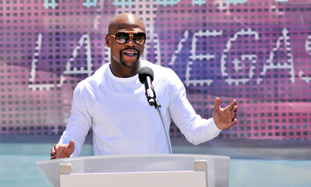 Boxer Floyd Mayweather Jr. speaks during a ceremonial ground breaking event for new MGM Resorts International and AEG joint venture indoor arena located behind the New York-New York hotel-casino o ...