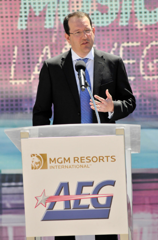 Dan Beckerman, president and CEO of AEG speaks during a ceremonial ground breaking event for new MGM Resorts International and AEG joint venture indoor arena located behind the New York-New York h ...