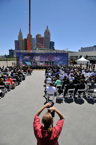 A general view is seen during a ceremonial ground breaking event for new MGM Resorts International and AEG joint venture indoor arena located behind the New York-New York hotel-casino on Thursday, ...