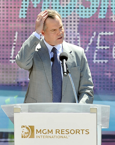 Jim Murren, chairmen and CEO of MGM Resorts International speaks during a ceremonial ground breaking event for new MGM Resorts International and AEG joint venture indoor arena located behind the N ...