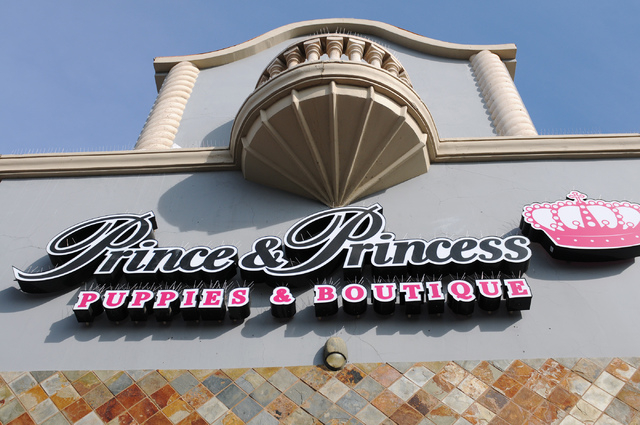 Prince and Princess Pet Boutique at 6870 S. Rainbow Road, Suite 104 in Las Vegas is seen closed due to an ongoing arson investigation Friday, Feb. 7, 2014. Pet shop owner Gloria Lee is facing char ...