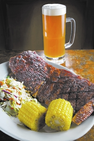 Barbecued ribs at Brewers Cafe, Barley's: The ribs, which are marinated in Barley's Black Mountain lager, are among the items featured on the Henderson casino's patio barbecue from 5:30 to 8 ...