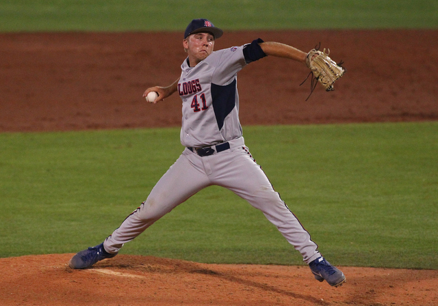 Fresno State's Tim Borst fires a pitch to UNLV in the third inning during a game in the Mountain West baseball tournament at Earl E. Wilson Stadium in Las Vegas on Thursday, May 22, 2014. (Chase S ...