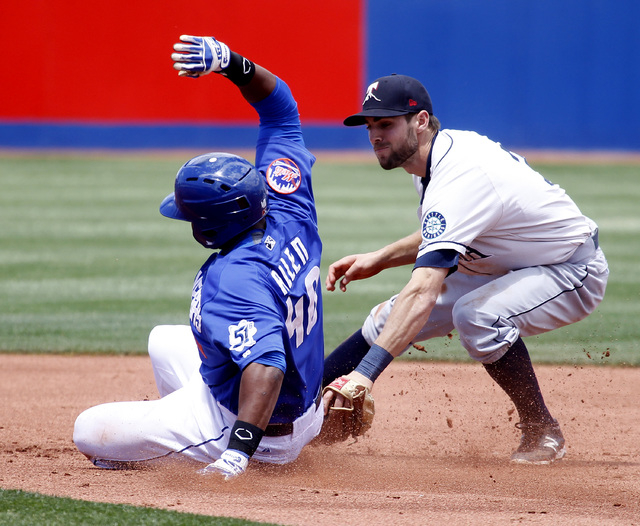 Las Vegas 51s first baseman Brandon Allen is tagged out by Tacoma Rainiers second baseman Chris Taylor during their game at Cashman Field on Sunday, May 11, 2014 in Las Vegas. (Justin Yurkanin/Las ...