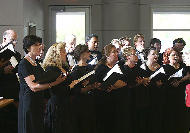 """Members of the Nevada Opera Theatre Chorus and The Myron Heaton Choral perform """"This is My Country"""" at the Veterans Day Ceremony held at the Boulder City Veterans Cemetery Nov. 11, 200 (Jim Miller ..."""