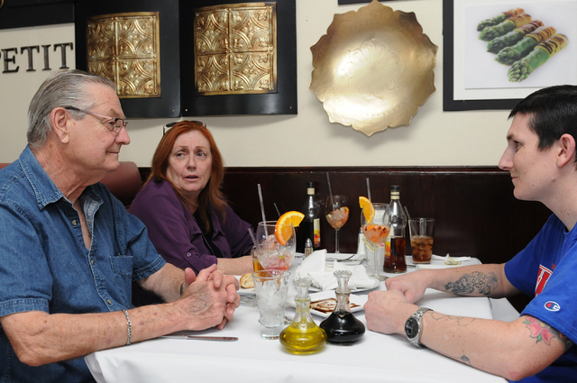 Leonard Bukofsky, from left, his wife Billie Jean and son Erik, dine at Bernard's Bistro in Henderson, Nev., Saturday, May 17, 2014. (Erik Verduzco/Las Vegas Review-Journal)