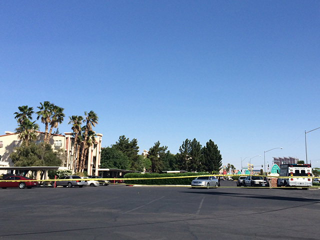 One person is dead after a Tuesday morning shooting near Boulder Highway and Tropicana Avenue. (Stephanie Grimes/REVIEWJOURNAL.COM)