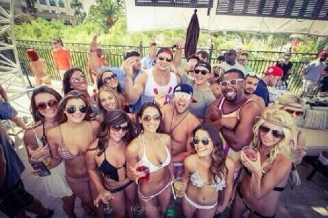 This photo of Johnny Manziel and Rob Gronkowski, surrounded by other partiers, appeared on several social media sites on Saturday, leading to criticism that Manziel wasn't taking his new role with ...