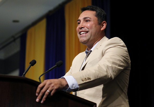 Golden Boy Promotions founder Oscar de la Hoya speaks to the media at the MGM Grand Garden Arena in Las Vegas on Saturday, May 3, 2014. (Jason Bean/Las Vegas Review-Journal)