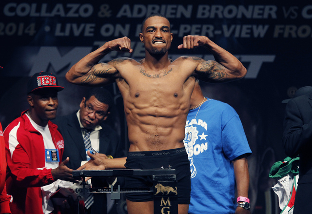Boxer J'Leon Love poses during the official weigh-in prior to his fight against Marco Antonio Periban at the MGM Grand Garden Arena in Las Vegas on Friday, May 2, 2014. (Jason Bean/Las Vegas Revie ...