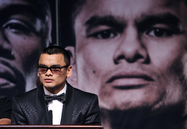 Boxer Marcos Maidana address the media during a press conference prior to his fight against Floyd Mayweather Jr. at the MGM Grand in Las Vegas on April 30, 2014. (Jason Bean/Las Vegas Review-Journal)
