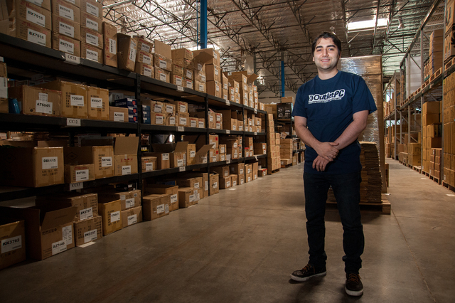 Outlet PC co-founder Sherveen Javadi gives a tour of his company's headquarters in Henderson on May 15. (Martin S. Fuentes/Las Vegas Review-Journal)