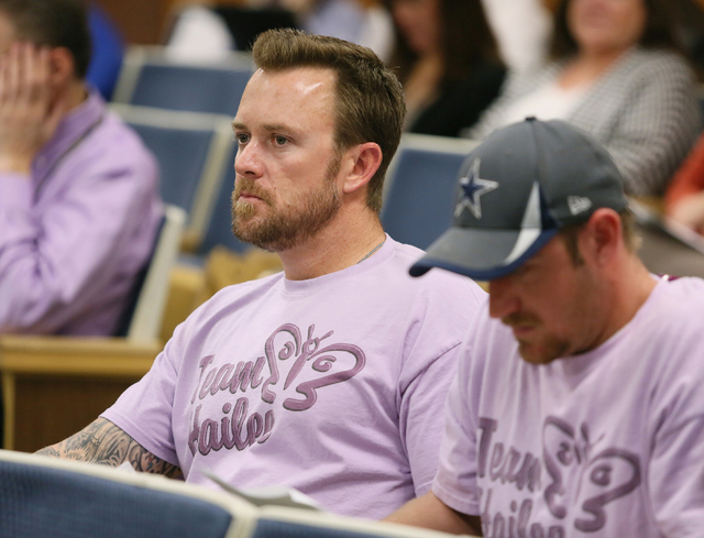 Jason Lamberth, left, sits with his brother Daniel Lincoln during a Clark County School Board meeting Wednesday, May 7, 2014, in Las Vegas. The brothers wore matching shirts in memory of Lamberth' ...