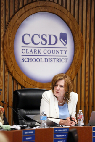 Patrice Tew, Clark County School Board clerk, attends a School Board special meeting Wednesday, May 7, 2014, in Las Vegas. The Superintendent's Internal Task Force on Bullying made its firs ...