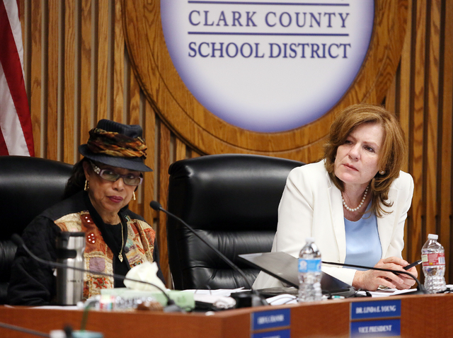 Linda E. Young, from left, vice president, and Patrice Tew, clerk, attend a Clark County School Board special meeting Wednesday, May 7, 2014, in Las Vegas. The Superintendent's Internal Tas ...