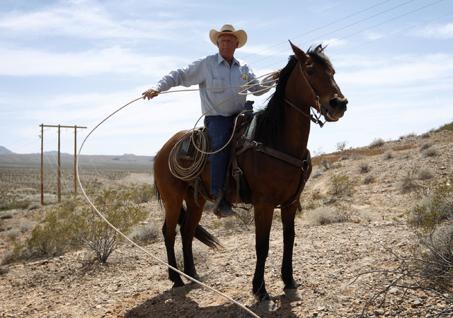 Rancher Cliven Bundy pulls in a rope while on horseback at a protest area near Bunkerville, Nev. Wednesday, April 16, 2014.  (John Locher/Las Vegas Review-Journal)