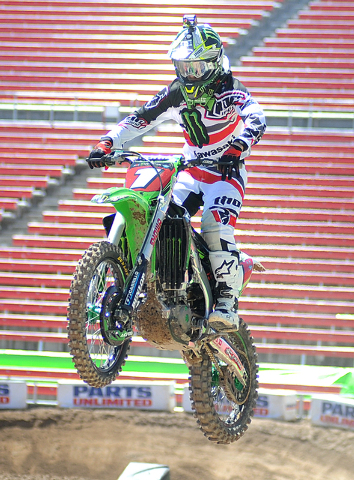 Ryan Villopoto practices at Sam Boyd Stadium on Friday, May 2, 2014, for the AMA Supercross season finale at the stadium in Las Vegas on May 3, 2014. Villopoto recently wrapped up his fourth title ...